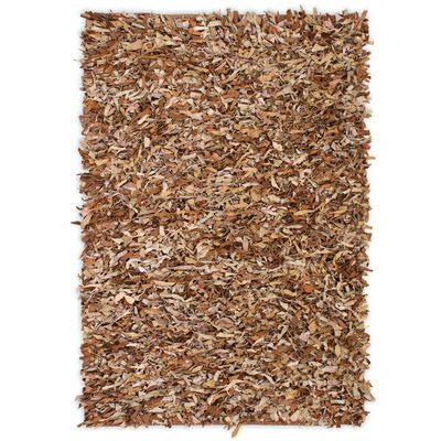 vidaXL Shaggy-matta äkta läder 160x230 cm ljusbrun