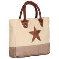vidaXL Shoppingväska beige 32x10x37,5 cm kanvas och äkta läder