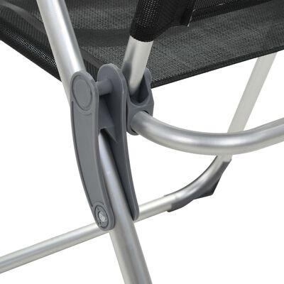 vidaXL Hopfällbara campingstolar 2 st aluminium svart