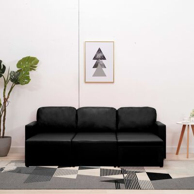 vidaXL Bäddsoffa modulär 3-sits svart konstläder