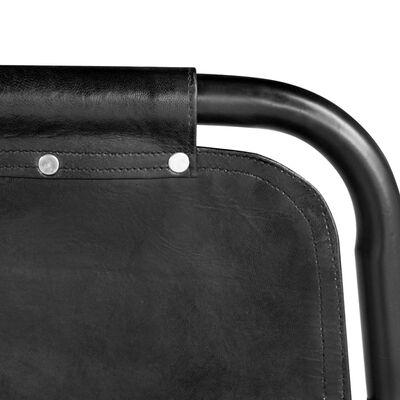 vidaXL Matstolar 2 st svart äkta läder