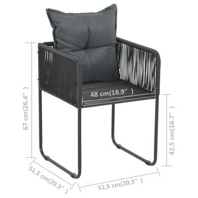 vidaXL Matgrupp för trädgården 5 delar PVC-rotting svart