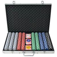 vidaXL Pokerset med 1000 marker aluminium