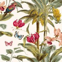 DUTCH WALLCOVERINGS Tapet tropisk palm grön och rosa