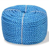 vidaXL Tvinnat rep i polypropylen 14 mm 100 m blå