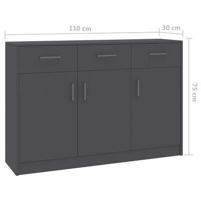 vidaXL Skänk grå 110x30x75 cm spånskiva