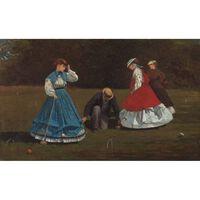 The Croquet Game,Winslow Homer,16x26.2cm