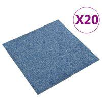 vidaXL Textilplattor 20 st 5 m² 50x50 cm blå