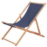 vidaXL Hopfällbar strandstol tyg och träram blå