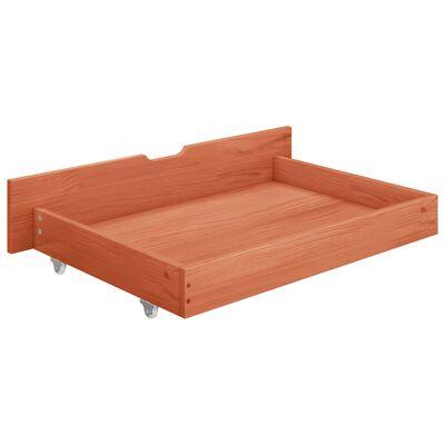 vidaXL Sängram med 2 lådor honungsbrun massiv furu 140x200 cm