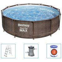 Bestway Pool Steel Pro MAX Deluxe Series med tillbehör rund 366x100 cm