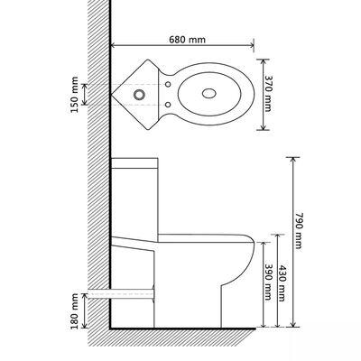WC Keramisk Toalettstol Hörn Svart