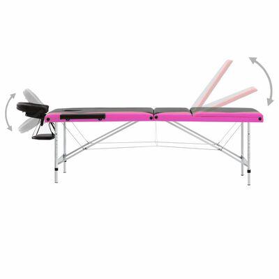 vidaXL Hopfällbar massagebänk 3 sektioner aluminium svart och rosa