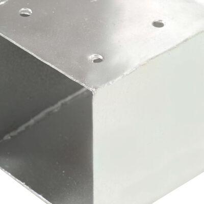 vidaXL Stolpbeslag 4 st T-form galvaniserad metall 71x71 mm