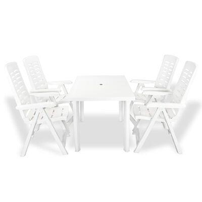 vidaXL Matgrupp för trädgården 5 delar plast vit