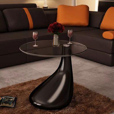 vidaXL Soffbord med rund bordsskiva i glas högglans svart