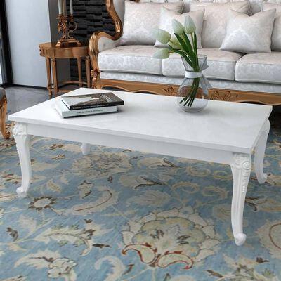 vidaXL Soffbord 115x65x42 cm högglans vit