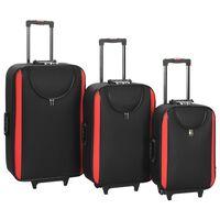 vidaXL Mjuka resväskor 3 st svart oxfordtyg