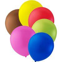 "12-p ballonger Brun, Gul, Röd, Grön, Rosa och Blå - 12"" (30cm)"