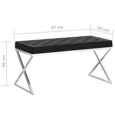 vidaXL Bänk 97 cm svart sammet och rostfritt stål