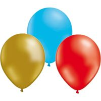 Ballonger 24-pack  - Guld/Röd/Blå