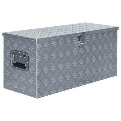vidaXL Förvaringslåda aluminium 90,5x35x40 cm silver