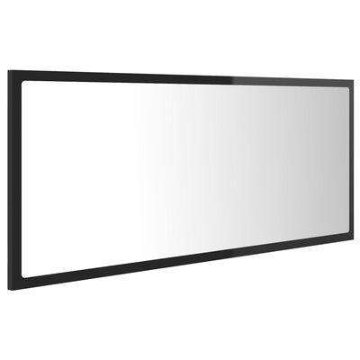 vidaXL Badrumsspegel med LED svart högglans 100x8,5x37 cm spånskiva