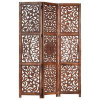 vidaXL Rumsavdelare 3 paneler handsnidad brun 120x165 cm mangoträ