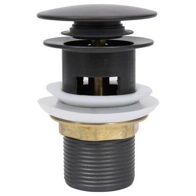 vidaXL Pop-up bottenventil med överflödesfunktion grå 6,4x6,4x9,1 cm