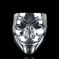 Anonymous face mask Guy Fawkes - Silver