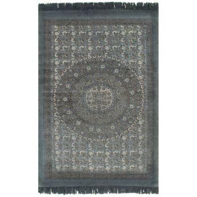 vidaXL Kelimmatta bomull 120x180 cm med mönster grå