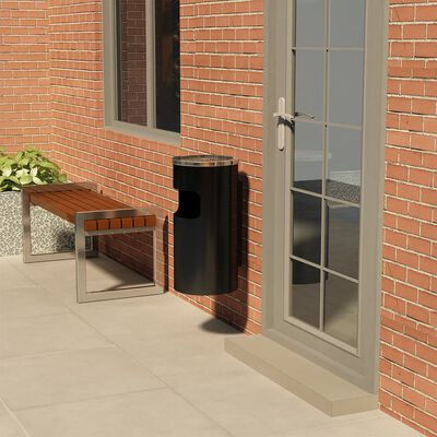 vidaXL Askfat/soptunna för vägg stål 26 L svart