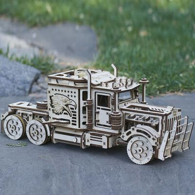 Eco-Wood-Art Byggmodell i trä lastbil