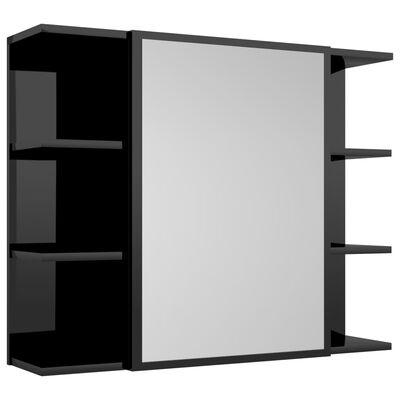 vidaXL Badrumsmöbler 4 delar svart högglans spånskiva