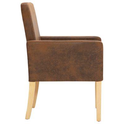 vidaXL Matstolar 6 st brun konstmocka