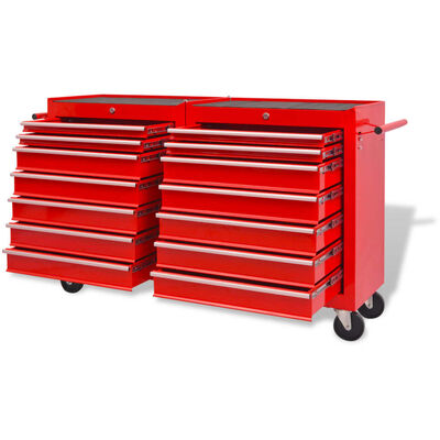 vidaXL Verktygsvagn med 14 lådor XXL stål röd