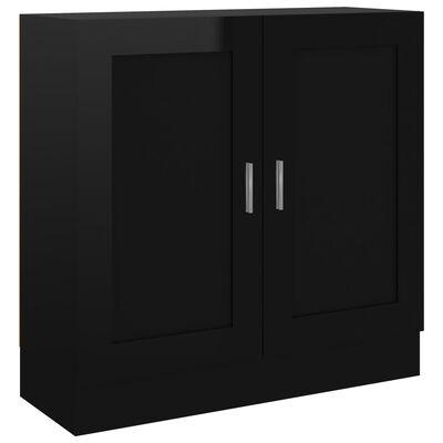 vidaXL Bokskåp svart högglans 82,5x30,5x80 cm spånskiva