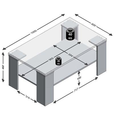 FMD Soffbord med hylla 100x60x46 cm ek