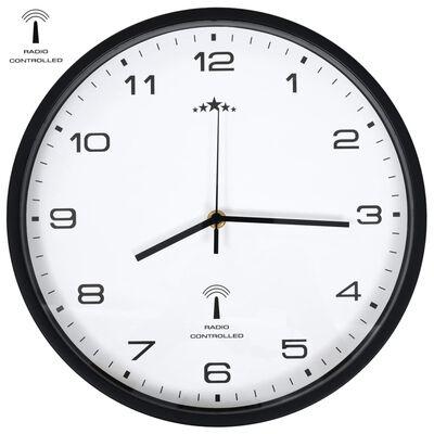 vidaXL Radiostyrd väggklocka Quartz-urverk 31 cm vit & svart