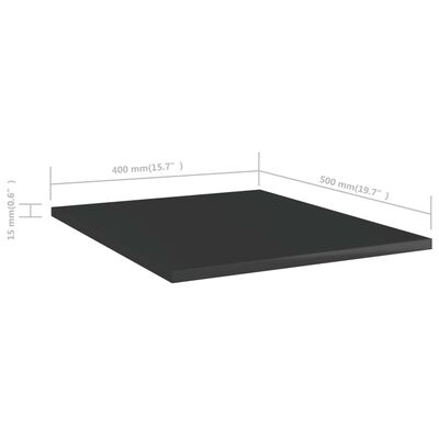 vidaXL Hyllplan 8 st svart högglans 40x50x1,5 cm spånskiva