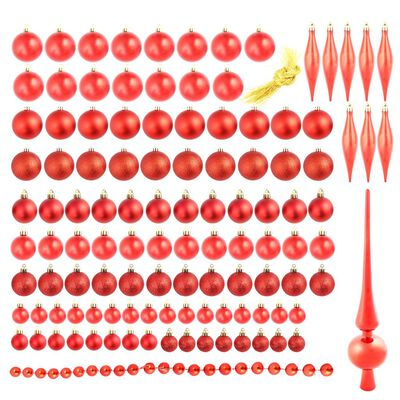 vidaXL Julgranskulor 113 delar set 6 cm röd