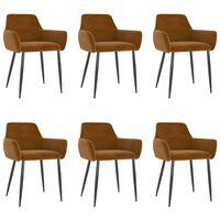 vidaXL Dining Chairs 6 pcs Brown Velvet (3x323112)