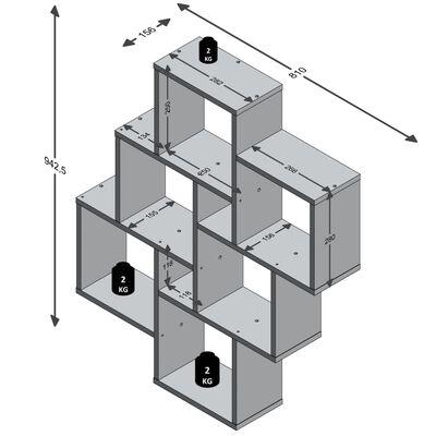 FMD Väggmonterad hylla med 8 fack ek