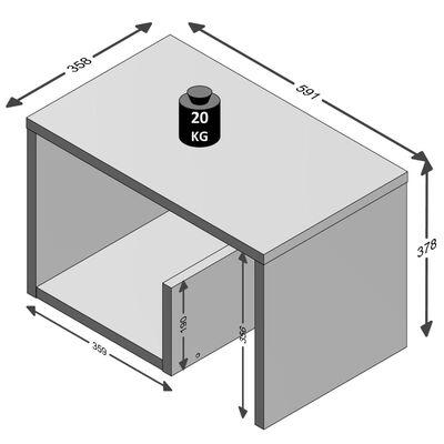 FMD Soffbord 2-i-1 59,1x35,8x37,8 cm vit