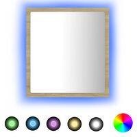 vidaXL Badrumsspegel med LED sonoma-ek 40x8,5x37 cm spånskiva