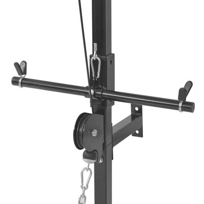 vidaXL Väggmonterat power tower med skivstång och hantlar 30,5 kg