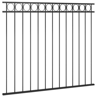 vidaXL Staketpanel stål 1,7x1,5 m svart