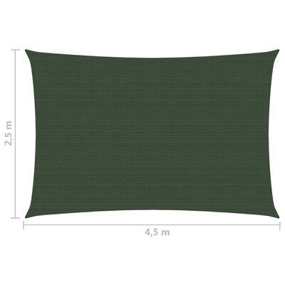 vidaXL Solsegel 160 g/m² mörkgrön 2,5x4,5 m HDPE