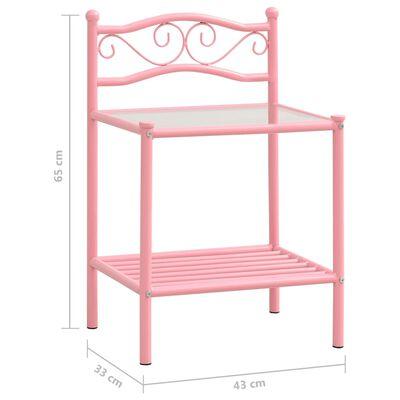 vidaXL Sängbord 2 st rosa och transparent metall och glas