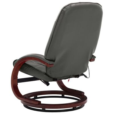 vidaXL Massagefåtölj med fotpall grå konstläder